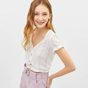 Bershka White Knit Buttoned Crop Top- XS, M, L